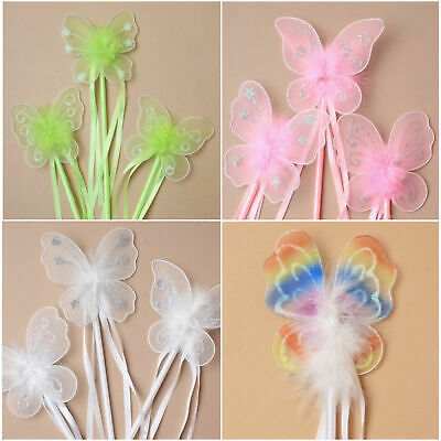 6 Pack Glitter Detail Fairy Wands Ribbons Fur Fancy Dress Up Party Princess