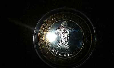 "Trumps Castle Atlantic City ""Humphrey Bogart"" $10 gaming token..999 fine silver"