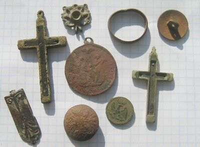 Ancient Archaeological finds .The assortment of antiques.
