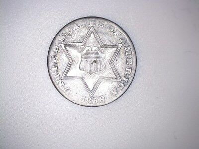 X  Original Rare 1858 Silver Three Cent Coin