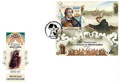 CA17815b Central Africa 2017 Martin Luther Reformation 500 Years MNH FDC ETB