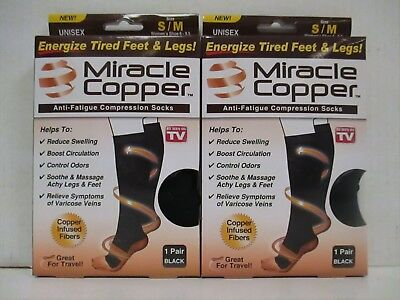 2 Pair Miracle Fit Unisex Anti-Fatigue Compression Socks S/m Black - Rc 6026