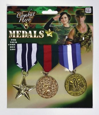 3 Gold Medals Navy Army War Medals Military Fancy Dress Costume