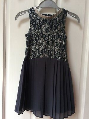 Girls Next Dress 4 Years, Stunning Silver Lace, Grey Pleats, Party, VGC