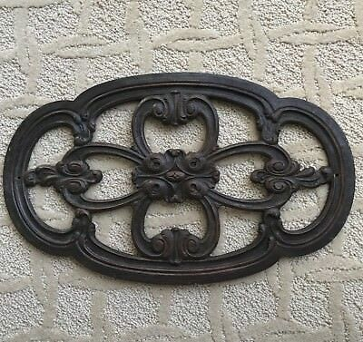 """Antique Carved Wood Medallion Architectural Salvage 16.5""""x10"""""""