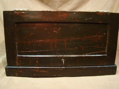Antique dark oak & pine Tool chest Hand made Toolmaker chest old Machinist box/A
