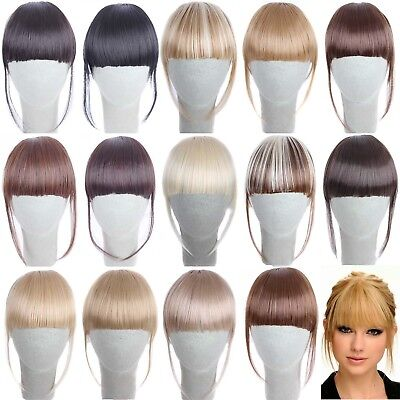 Fashion Women Remy Human Hair Neat Air Bangs Clip In Fringe Front Hairpiece
