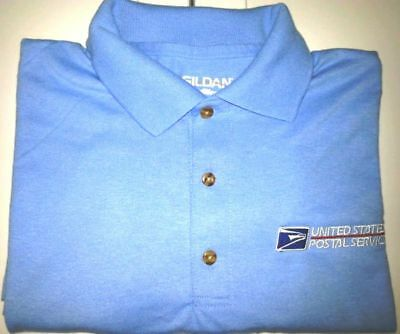 Usps Postal Carolina Blue Polo Shirt With Embroidered Postal Logo On