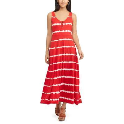 ff5afbd0eea CHAPS Womens RED   WHITE Tie Dye Halter Maxi Dress (Size LARGE) NWT MSRP
