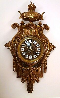 19th CENTURY JAPY FRERES FRENCH LOUIS XVI GILT BRONZE  CARTEL WALL CLOCK