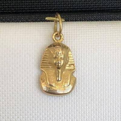 Unique 18K SOLID Yellow Gold Statue King Tut Mask . Fancy Rare Egyptian Charm