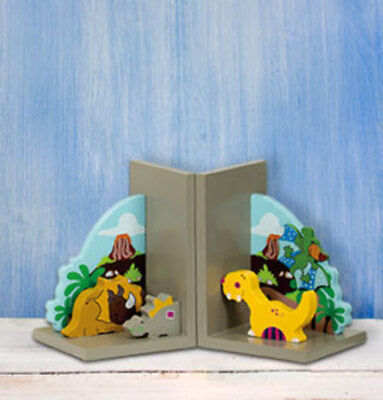 Wooden Dinosaur Bookends
