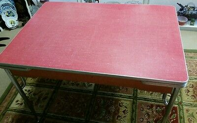 Vintage red formica chrome table pop up sides