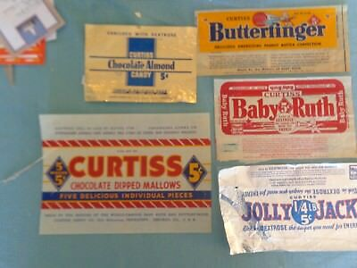 1930s Candy:  5 Curtis Candy Wrappers. Baby Ruth, Jolly Jack, etc.