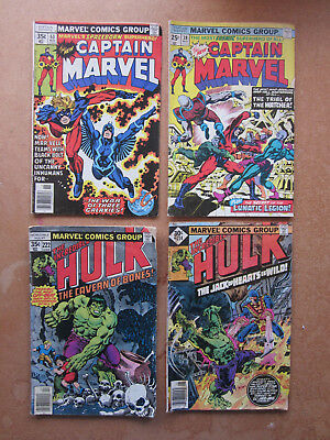 Lot of 4 70's Marvel, Captain Marvel 38,53-Hulk 214-222 nice condition