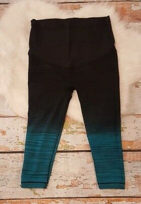 PINK BLUSH Legging Workout Gym Pant Cropped L Large Belly Support Black Ombre