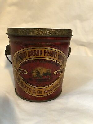Antique Buffalo Brand 1lb Peanut Butter Tin - Amesbury, Mass.