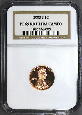 2003-S 1C PROOF Cent Penny NGC PF 69 RD Red Ultra Cameo Certified Graded #6005