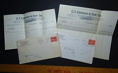 LOT of  Advertising Covers & Billheads 1905 Crouch Lumber Rochester NY - Gates