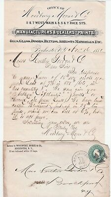 LOT Advertising Cover & Letterhead Woodbury & Morse Paints etc Rochester NY 1881