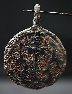 The Vikings. Ancient Bronze Cross. Rare Norse Amulet Pendant, circa 950-1000 AD.