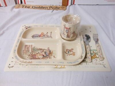 Melamine Selandia Winnie the Pooh Divided Plate Tray Spoon fork Tumbler Placemat