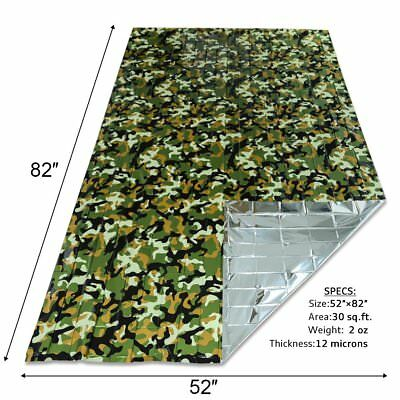Camo Waterproof Foil Emergency Survival Blanket Thermal First Aid Hiking Camping
