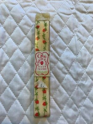 "Vintage Offray Grosgrain Ribbon Strawberry Vine NIP 7 Feet 3/8""W"