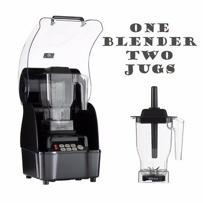 OmniBlend Pro Commercial Blender + Enclosure + 2 Jugs Ice Smoothie Milkshake Bar