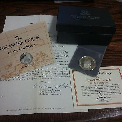 925 BVI $20  proof Silver Coin made from Shipwreck Treasure Coins Carribean