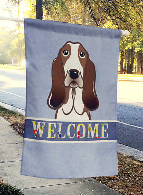 Carolines Treasures  BB1429CHF Basset Hound Welcome Flag Canvas House Size