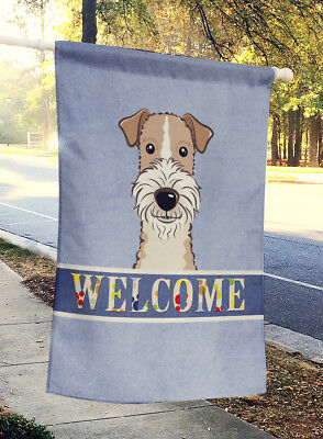 Wire Haired Fox Terrier Welcome Flag Canvas House Size
