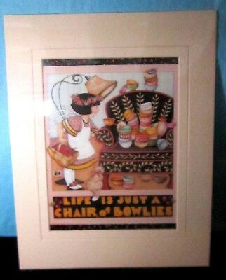 """Mary Engelbreit Matted Print Life is Just a Chair of Bowlies 11x14"""""""