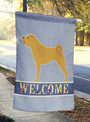 Carolines Treasures  BB5556CHF Shar Pei Merry Welcome Flag Canvas House Size