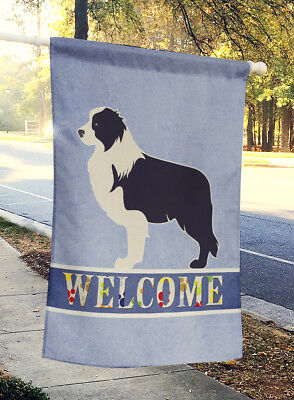 Black Border Collie Welcome Flag Canvas House Size