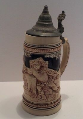 Authentic German Beer Stein w/Hinged Pewter Lid Thumb Lever & Makers Marks NICE!
