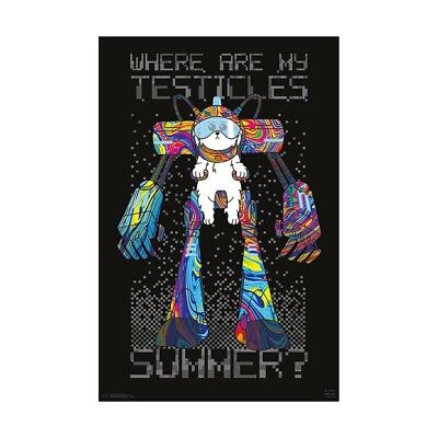 Rick and Morty Where Are Testicles Wall Poster Snowball Dog Fluffy 22.375 x 34