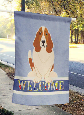 Carolines Treasures  BB5602CHF Basset Hound Welcome Flag Canvas House Size