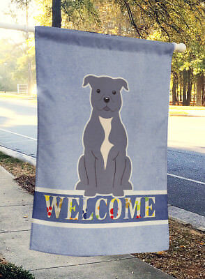 Staffordshire Bull Terrier Blue Welcome Flag Canvas House Size