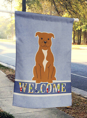 Staffordshire Bull Terrier Brown Welcome Flag Canvas House Size