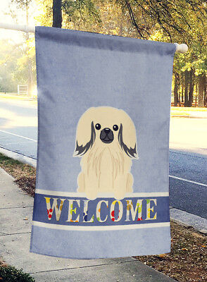 Carolines Treasures  BB5687CHF Pekingnese Cream Welcome Flag Canvas House Size