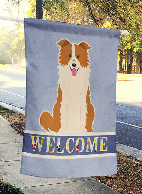 Border Collie Red White Welcome Flag Canvas House Size