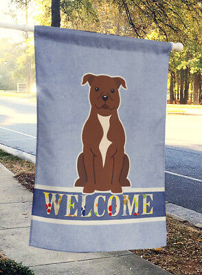 Staffordshire Bull Terrier Chocolate Welcome Flag Canvas House Size