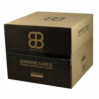 Dripstone 500Ft Rg59 Siamese 18/2 Security Cable For Cctv Bulk Coax  20Awg