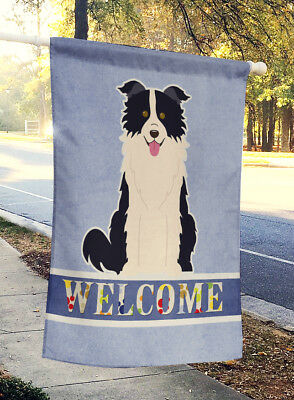 Border Collie Black White Welcome Flag Canvas House Size