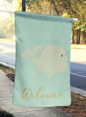 Carolines Treasures  BB8586CHF Whale Welcome Flag Canvas House Size