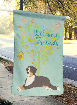 Welcome Friends Bernese Mountain Dog Flag Canvas House Size