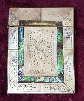 Abalone & mother of pearl vintage Victorian antique card case box