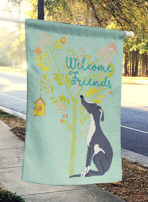 Welcome Friends Black White Greyhound Flag Canvas House Size