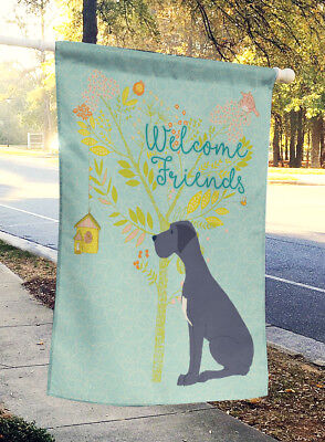 Welcome Friends Black Great Dane Flag Canvas House Size